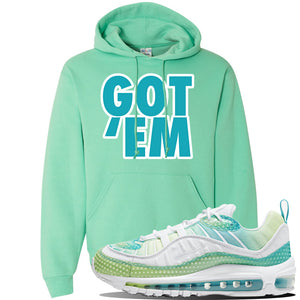 WMNS Air Max 98 Bubble Pack Sneaker Cool Mint Pullover Hoodie | Hoodie to match Nike WMNS Air Max 98 Bubble Pack Shoes | Got Em