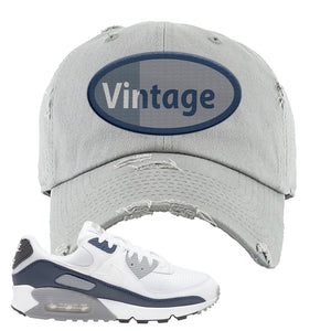 Air Max 90 White / Particle Grey / Obsidian Distressed Dad Hat | Light Gray, Vintage Oval