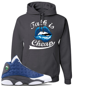 Jordan 13 Flint 2020 Sneaker Charcoal Gray Pullover Hoodie | Hoodie to match Nike Air Jordan 13 Flint 2020 Shoes | Talk Is Cheap