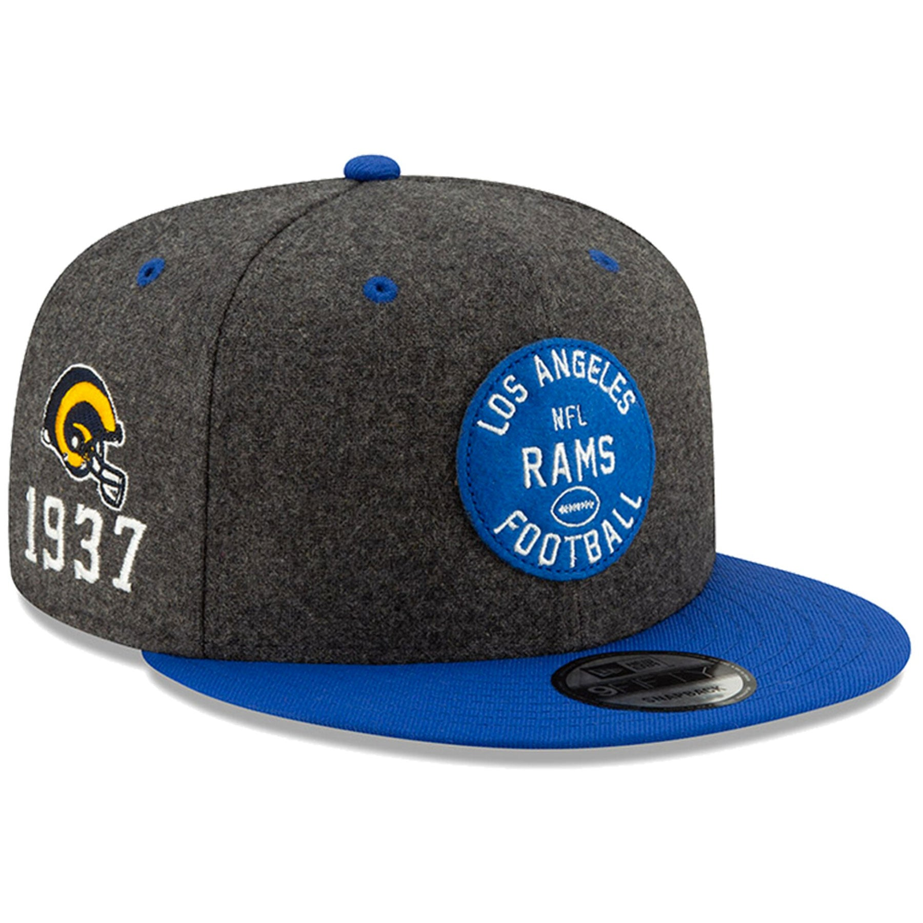95718813a Los Angeles Rams New Era 2019 NFL On Field Sideline Home Official Skull  Logo 9FIFTY 1930s Charcoal/Royal Snapback Hat