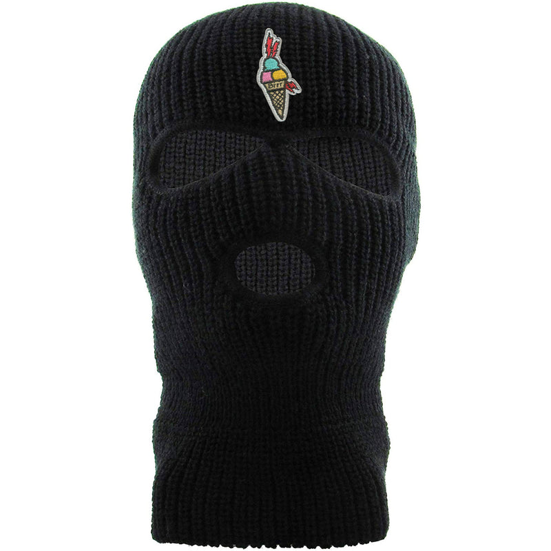 Embroidered on the forehead of the black Gucci Mane ski mask is the Gucci Mane ice cream cone logo