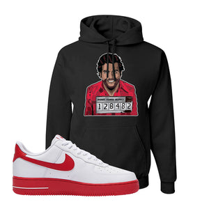 Air Force 1 Low Red Bottoms Hoodie | Black, Escobar Illustration