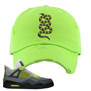 Jordan 4 Neon Distressed Dad Hat | Lime Green, Coiled Snake