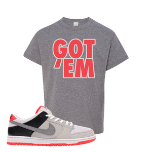 Nike SB Dunk Low Infrared Orange Label Got Em Sport Grey Women's T-Shirt To Match Sneakers