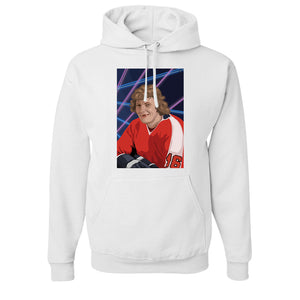 Bobby Clarke Pullover Hoodie | Bobby Clarke Class Photo White Pull Over Hoodie the front of this hoodie has bobby clarke's class photo