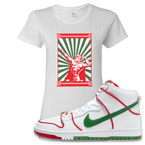 Paul Rodriguez's Nike SB Dunk High Sneaker White Women's T Shirt | Women's Tees to match Paul Rodriguez's Nike SB Dunk High Shoes | Lucha Libre