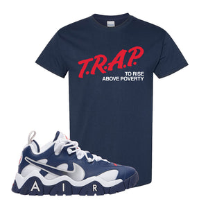 Air Barrage Low USA T Shirt | Navy, Trap To Rise Above Poverty