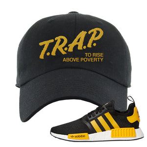 NMD R1 Active Gold Dad Hat | Black, Trap To Rise Above Poverty