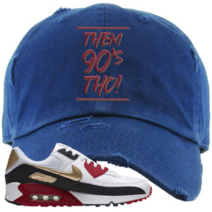 Air Max 90 Chinese New Year Distressed Dad Hat | Navy Blue, Them 90's Tho