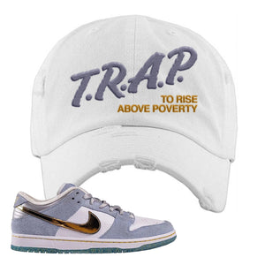 Sean Cliver x SB Dunk Low Distressed Dad Hat | Trap To Rise Above Poverty, White