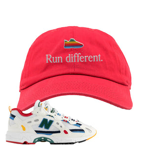 Aime Leon Dore X New Balance 827 Abzorb Multicolor 'White' Dad Hat | Red, Run Different