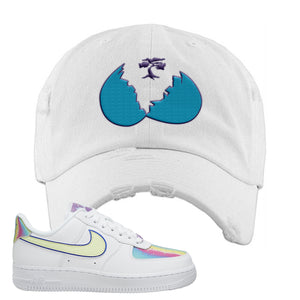 Air Force 1 Low Easter Distressed Dad Hat | White, Broken Egg