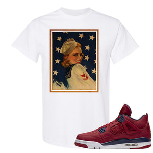Jordan 4 FIBA Navy Sailor Pin Up Woman White Sneaker Matching Tee Shirt
