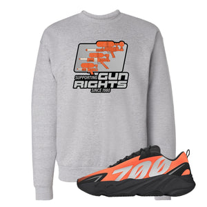 Water Soaker Light Steel Crewneck Sweatshirt to match Yeezy Boost 700 MNVN Orange Sneaker