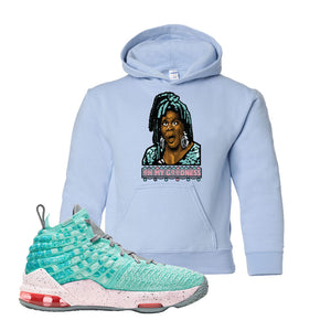 Lebron 17 South Beach Kids Pullover Hoodie | Oh My Goodness, Light Blue