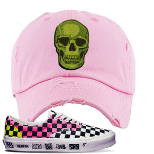 Vans Era Venice Beach Pack Distressed Dad Hat | Pink, Skull