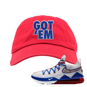 LeBron 17 Low Tune Squad Sneaker Red Dad Hat | Hat to match Nike LeBron 17 Low Tune Squad Shoes | Got Em