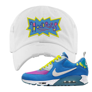 Undefeated x Air Max 90 Pacific Blue Sneaker White Distressed Dad Hat | Hat to match Undefeated x Nike Air Max 90 Pacific Blue Shoes | Hoodrats