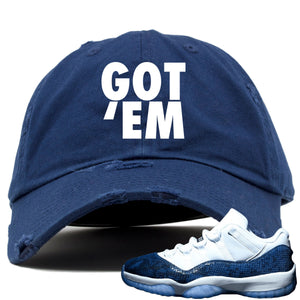 Blue and white hat to match Jordan 11 shoes