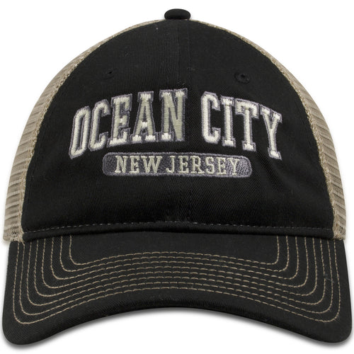 Ocean City, New Jersey Black/Khaki Mesh Trucker Snapback Hat