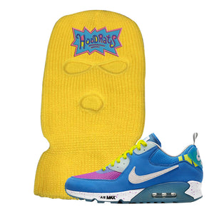 Undefeated x Air Max 90 Pacific Blue Sneaker Safety Yellow Ski Mask | Winter Mask to match Undefeated x Nike Air Max 90 Pacific Blue Shoes | Hoodrats