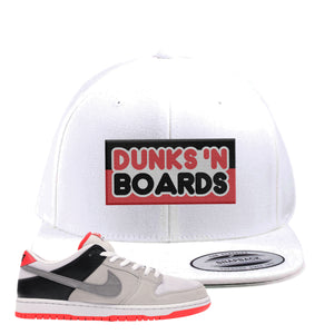 Nike SB Dunk Low Infrared Orange Label Dunks N Boards White Snapback Hat To Match Sneakers