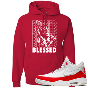 This red and white hoodie will match great with your Jordan 3 Tinker Air Max shoes