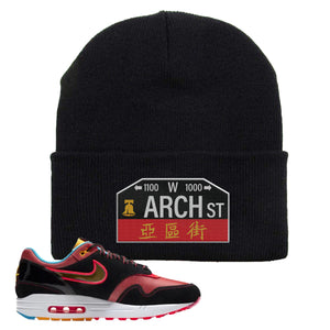 Air Max 1 NYC Chinatown Arch Street Philadelphia Black Beanie To Match Sneakers