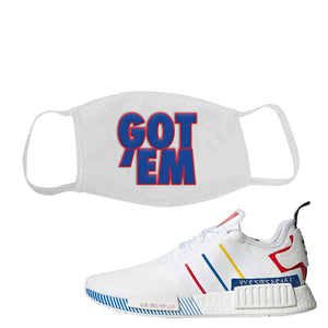 NMD R1 Olympic Pack Face Mask | White, Got Em