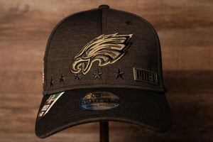 Eagles 2020 Salute To Service Flexfit Hat | Philadelphia Eagles Stretch Fit Cap the front of this cap has the eagles logo in military brown and black