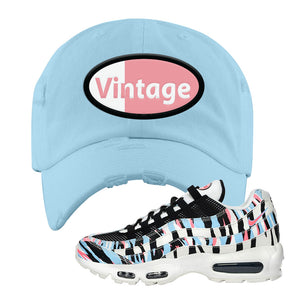 Air Max 95 Korea Tiger Stripe Distressed Dad Hat | Light Blue, Vintage Oval