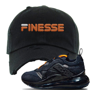Air Max 720 OBJ Slip Sneaker Black Distressed Dad Hat | Hat to match Nike Air Max 720 OBJ Slip Shoes | Finesse