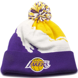 Los Angeles Lakers Paint Brush Mitchell and Ness Winter Beanie