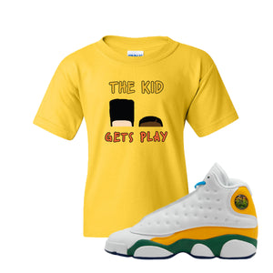 The Kids Gets Play Gold Kid's T-Shirt to match Air Jordan 13 GS Playground Kids Sneaker