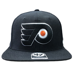 Embroidered on the front of the Philadelphia Flyers black snapback hat is the Philadelphia Flyers logo embroidered in black, orange, and white
