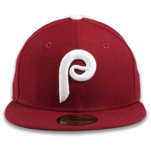 Philadelphia Phillies 1970s Cooperstown Vintage Cardinal Red New Era 59Fifty Fitted Cap