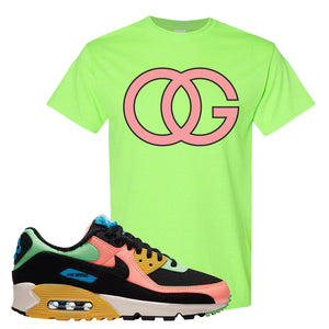Furry Air Max 90 Bright Neon T Shirt | OG, Neon Green