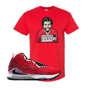 Lebron 17 Uptempo T Shirt | Red, Escobar Illustration
