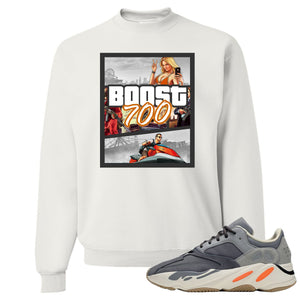 Yeezy Boost 700 Magnet GTA Cover White Sneaker Matching Crewneck Sweatshirt