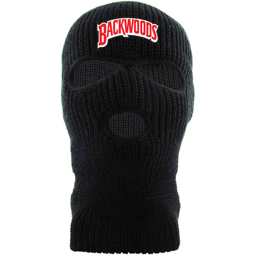 Embroidered on the forehead of the Black n' Sweet aromatic ski mask is the Backwoods logo in black, red, and white