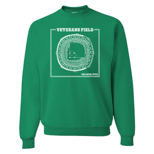 The Vet Seating Chart Crewneck Sweatshirt | Veterans Stadium Seating Chart Kelly green Crew Neck Sweatshirt the front of this crewneck has the vet seating chart