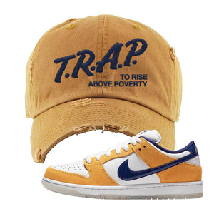 SB Dunk Low Laser Orange Distressed Dad Hat | Timberland, Trap To Rise Above Poverty