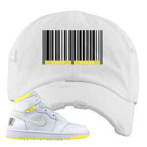 Air Jordan 1 First Class Flight First Class Barcode White Sneaker Matching Distressed Dad Hat