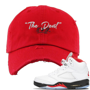 Air Jordan 5 OG Fire Red Distressed Dad Hat | Red, Devil Is A Lie