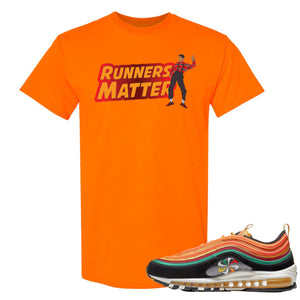 Printed on the front of the Air Max 97 Sunburst safety orange sneaker matching t-shirt is the Runners matter logo