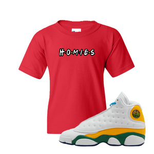 Homies Red Kid's T-Shirt to match Air Jordan 13 GS Playground Kids Sneakers