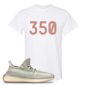 Yeezy Boost 350 V2 Citrin Non-Reflective 350 White Sneaker Matching Tee Shirt