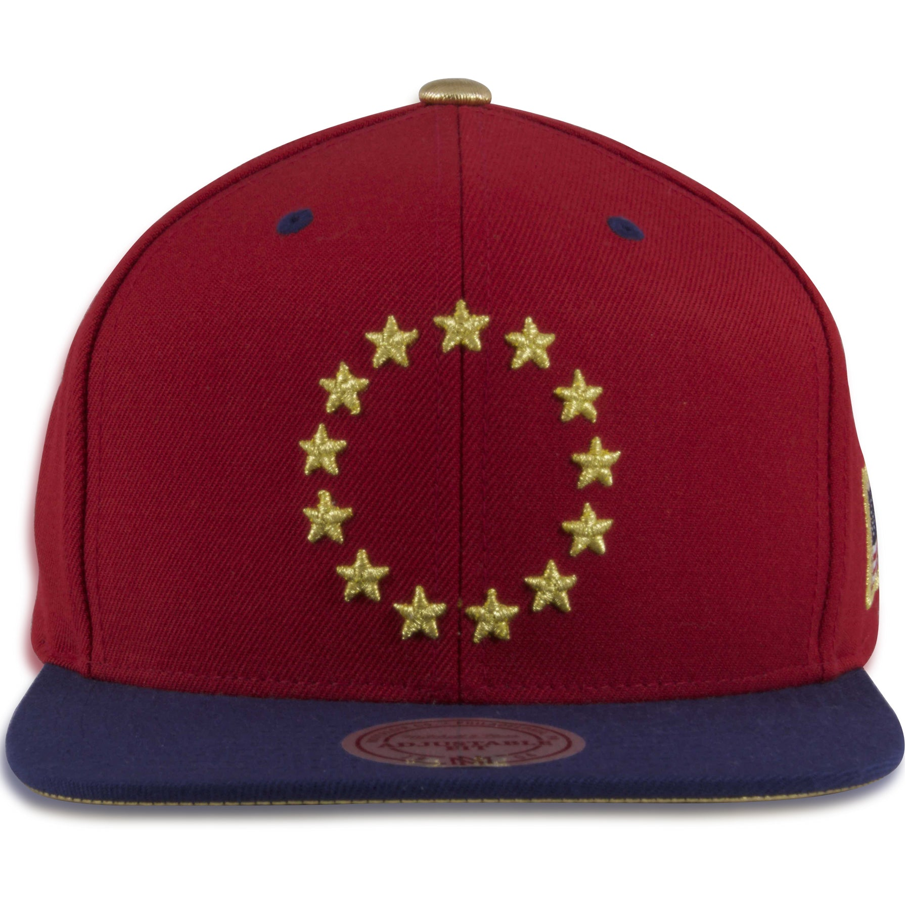 41c6d03c Philadelphia 76ers Red / Navy Blue Gold Star Circle Mitchell and Ness  Snapback Hat