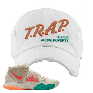 Kyrie 6 N7 Distressed Dad Hat | White, Trap To Rise Above Poverty