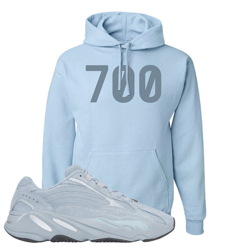 Yeezy Boost 700 V2 Hospital Blue 700 Sneaker Matching Light Blue Pullover Hoodie